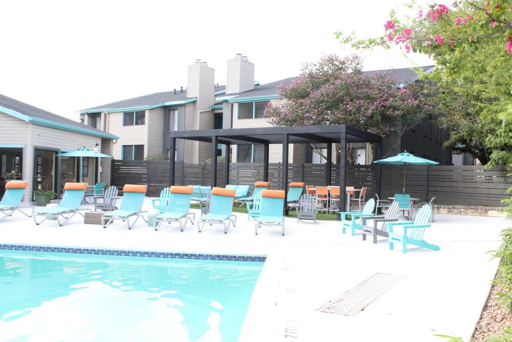 Swimming pool at EnVue Apartments in Bryan, Texas