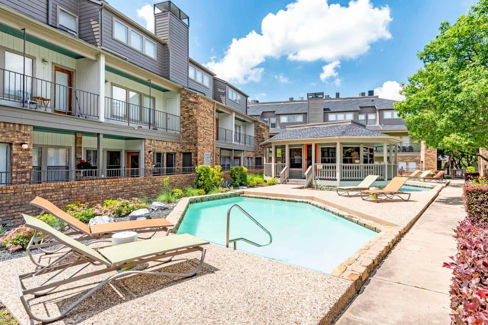 Poolside view at Watermarke Apartments in Fort Worth, Texas