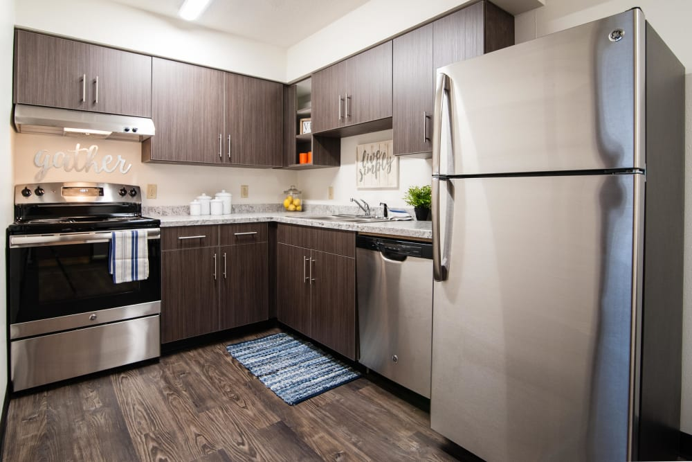 Kitchens with plenty of storage space at South Meadow in Ames, Iowa.
