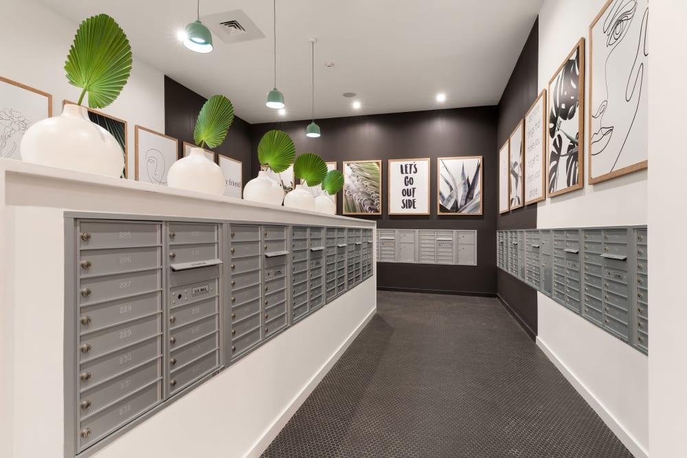 Very clean mail area at Yard 8 Midtown in Midtown Miami, Florida
