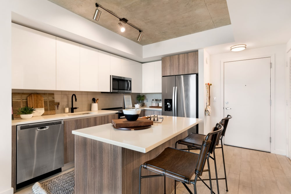 Large kitchen with stainless steel appliances at Yard 8 Midtown in Midtown Miami, Florida
