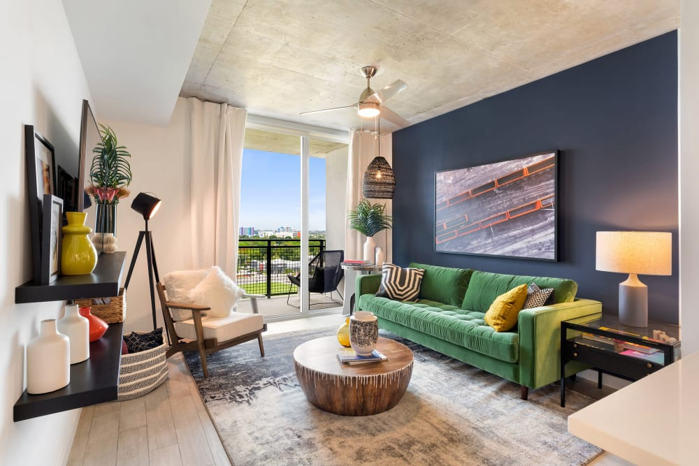 High ceilings and large windows at Yard 8 Midtown in Midtown Miami, Florida