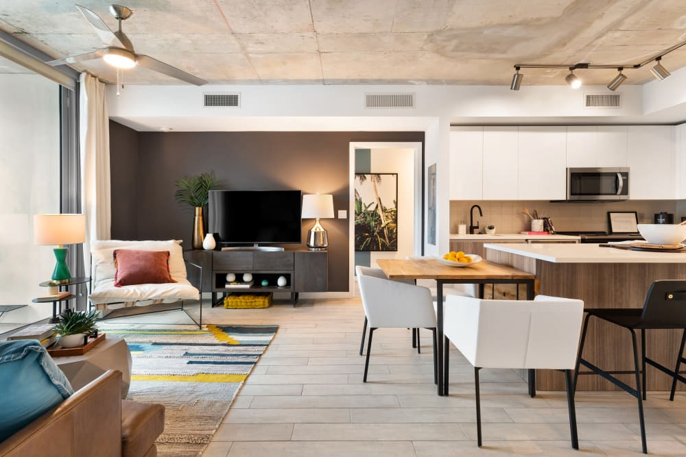 Open living spaces at Yard 8 in Midtown Miami, Florida