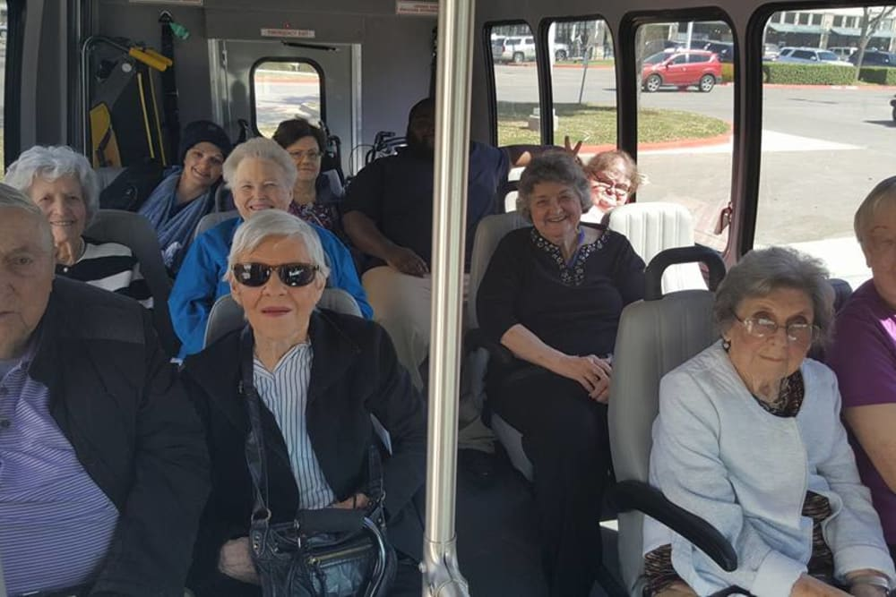 Residents on the bus at Parsons House Frisco in Frisco, Texas