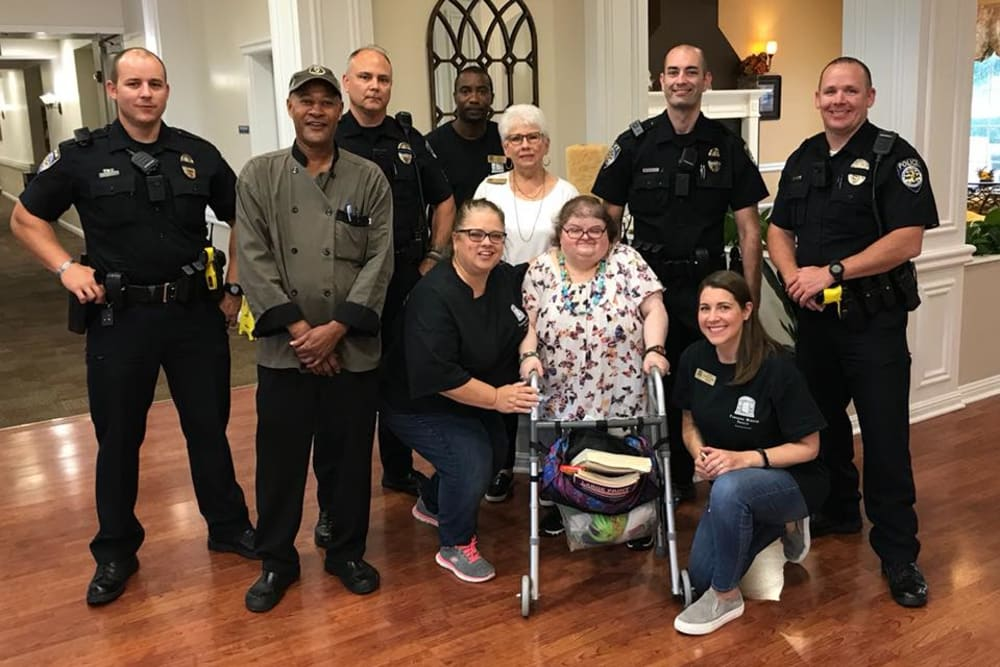 Residents and care workers at Parsons House Frisco in Frisco, Texas