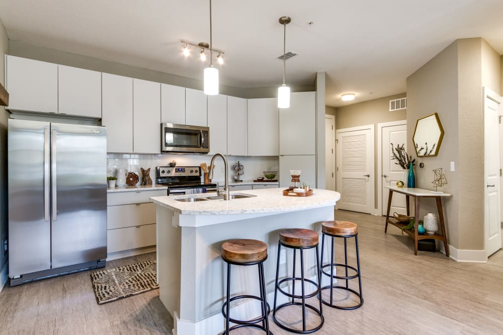 Kitchen with plenty of cabinet space at Steele Creek in Jacksonville, Florida