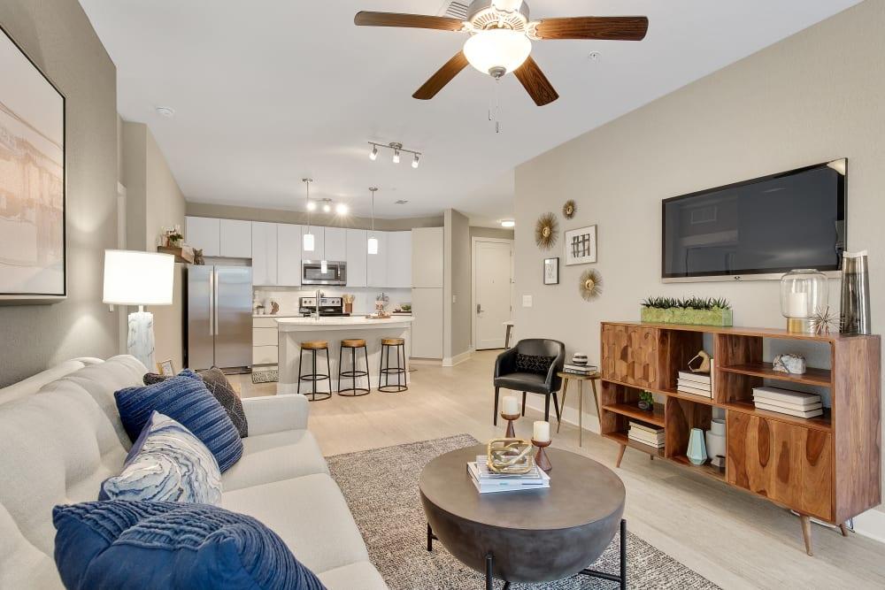 Sleek model living room at Steele Creek in Jacksonville, Florida