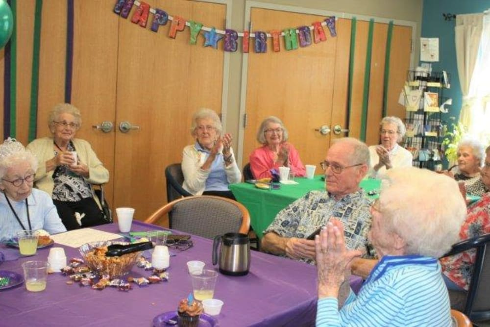 residents celebrating a birthday