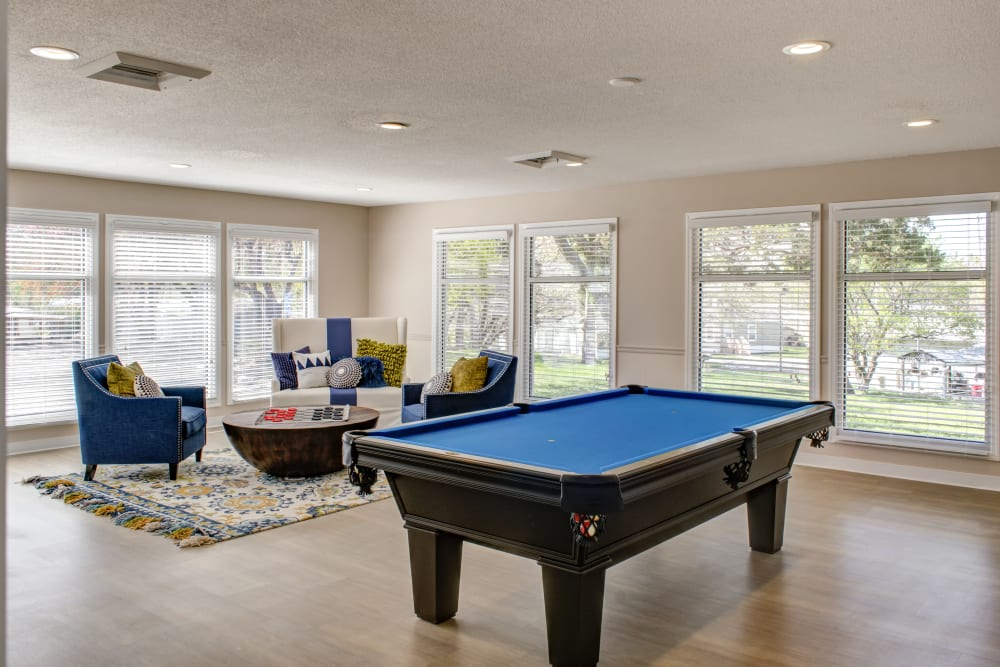 Billiards table in the clubhouse at Maplewood Estates in Omaha, Nebraska