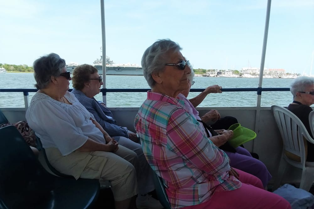 Residents on a boat tour near Merrill Gardens at Carolina Park in Mount Pleasant, South Carolina.