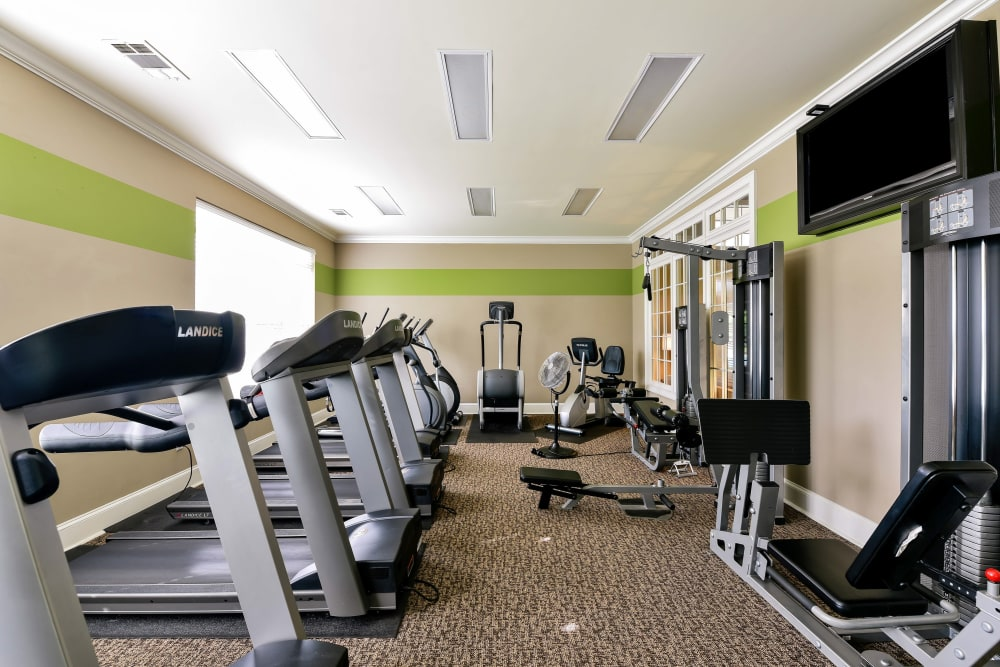 Fully equipped fitness center at Lullwater at Bass in Macon, Georgia