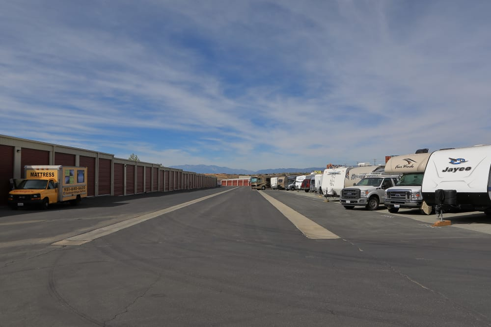 Large parking spaces at Storage Solutions in Beaumont, California