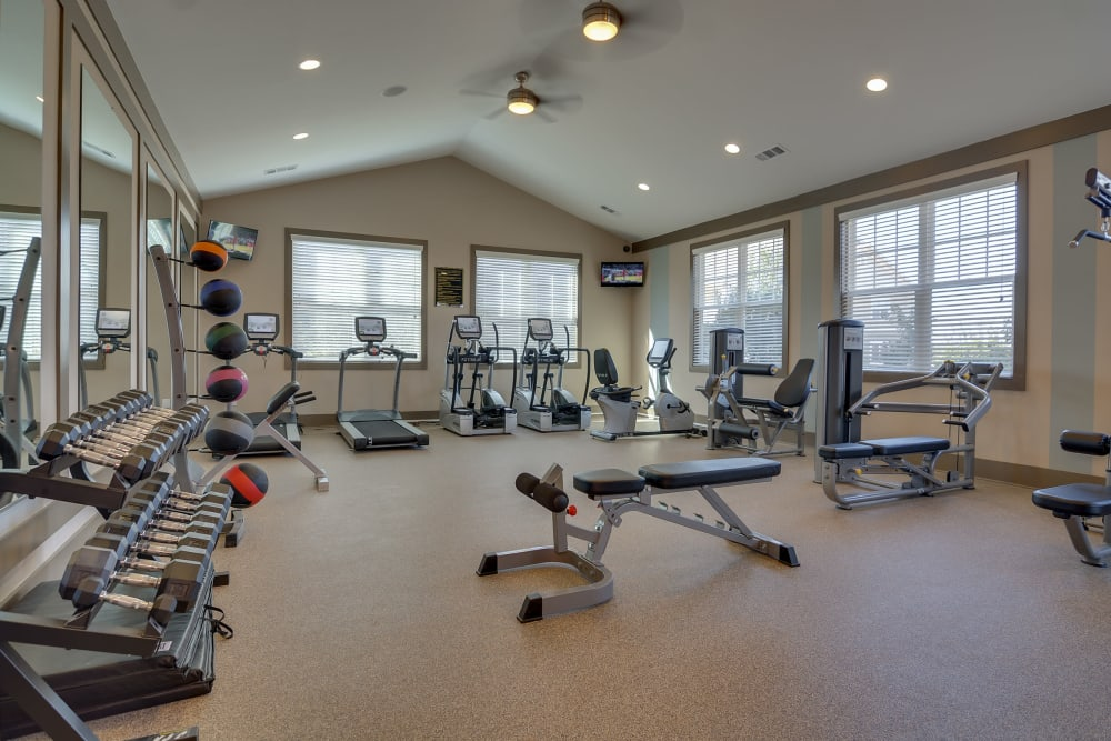 Lullwater at Riverwood offers a fitness center for residents in Evans, Georgia