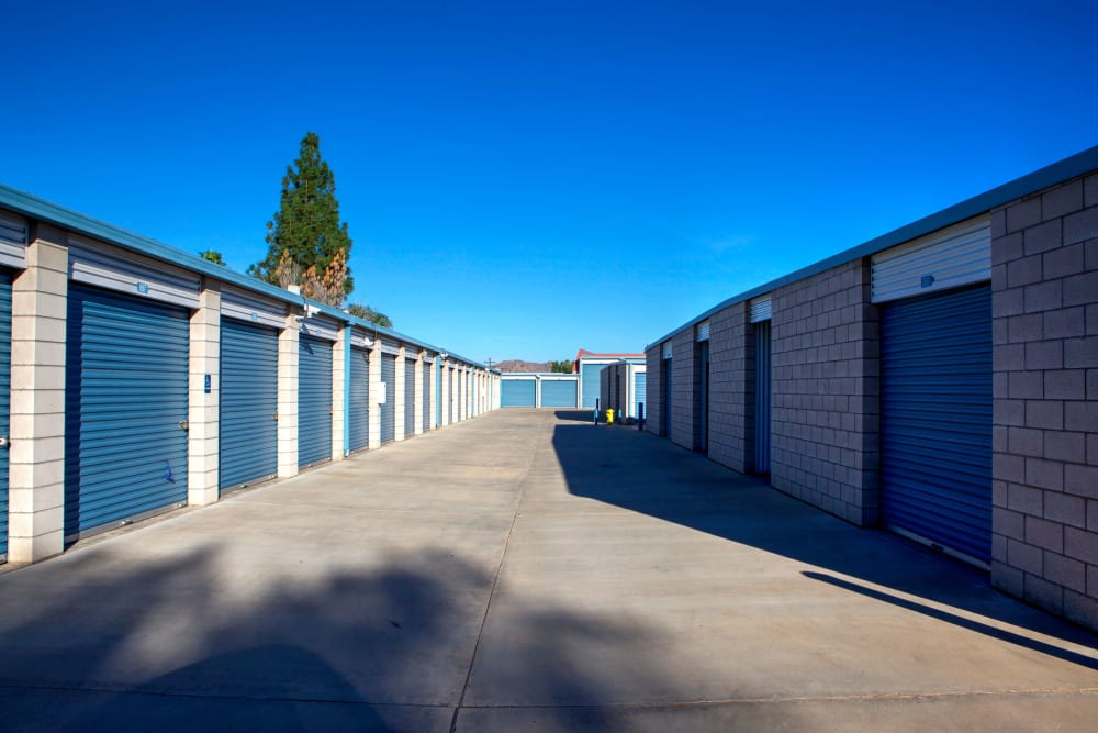 Outdoor storage with drive-up access at Storage Solutions in Riverside, California
