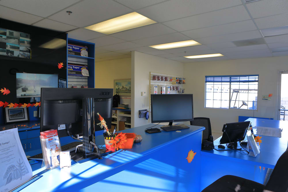 Front desk of Storage Solutions in Riverside, California