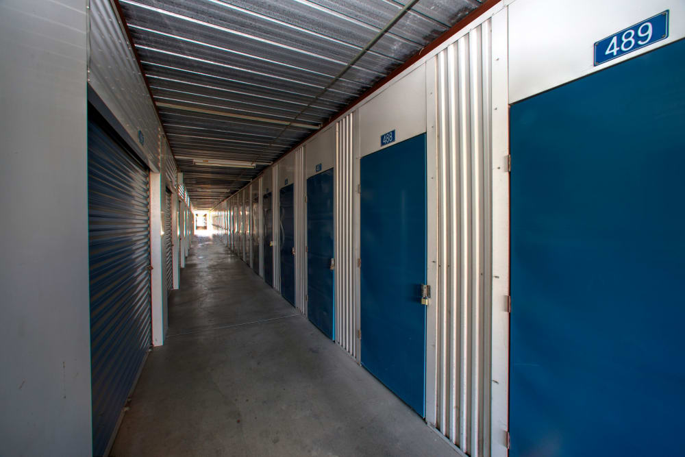 Indoor storage spaces available at Storage Solutions in Riverside, California