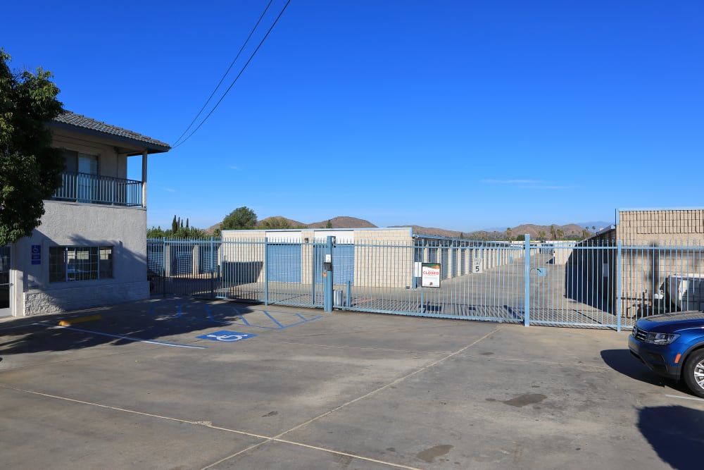 Security gate and monitoring at Storage Solutions in Riverside, California