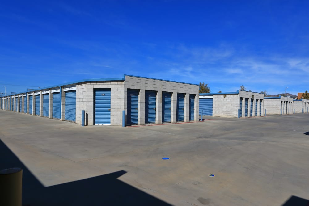 Wide driveways with drive-up access at Storage Solutions in Moreno Valley, California