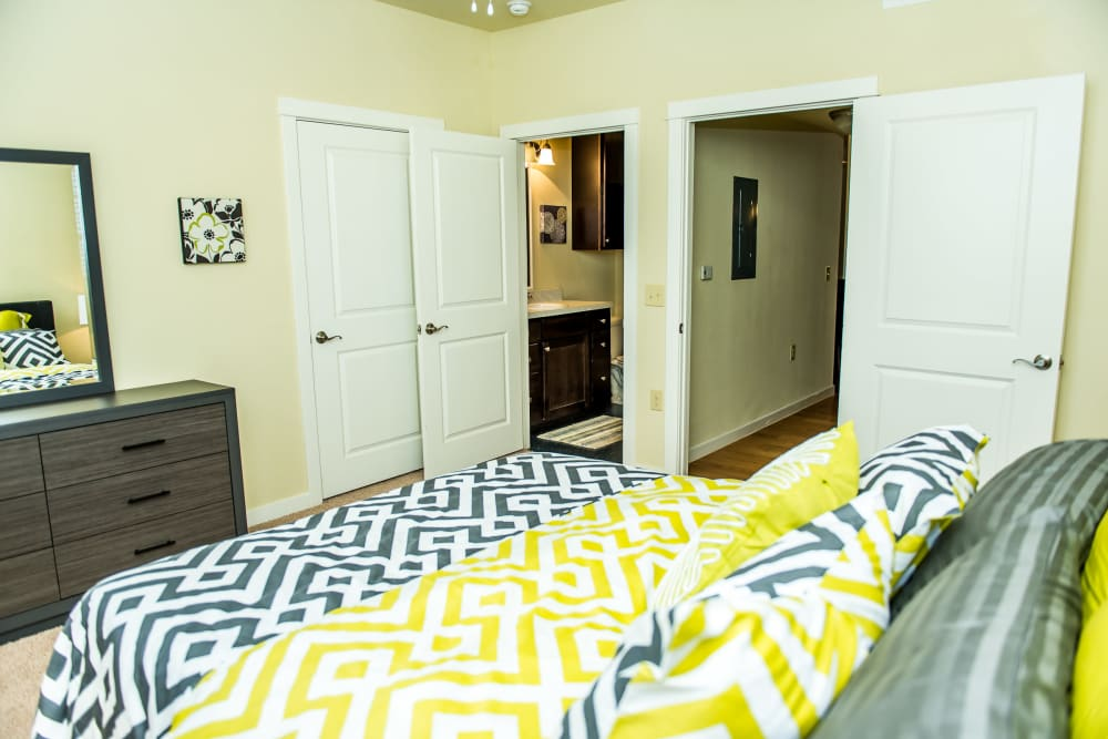 Bedroom with a private bathroom at Traditions at Westmoore in Oklahoma City, Oklahoma.