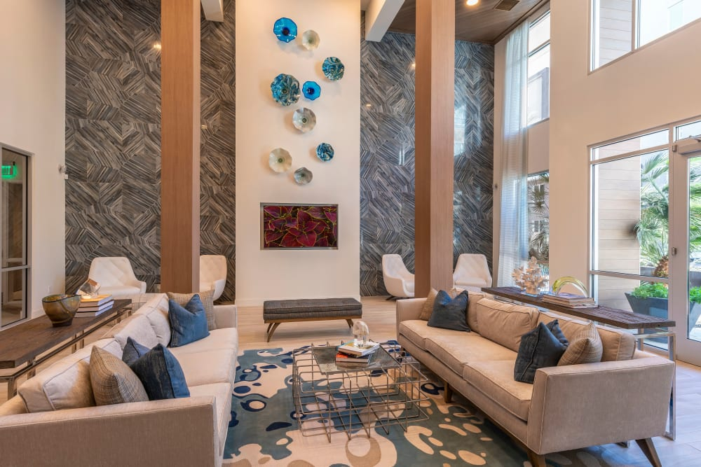 Contemporary decor in resident clubhouse at Carter in Scottsdale, Arizona