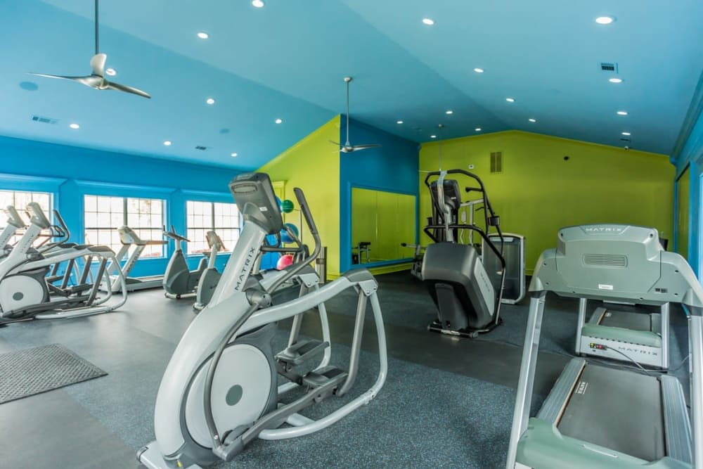 Fitness center with ceiling fans at River Pointe in North Little Rock, Arkansas.