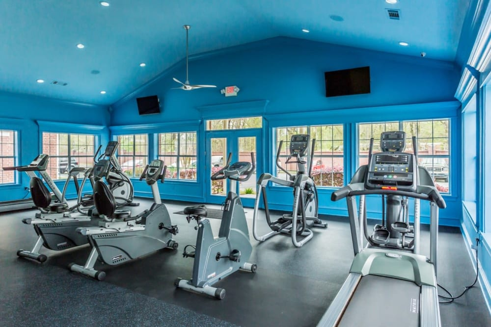Fitness center with cardio machines at River Pointe in North Little Rock, Arkansas.