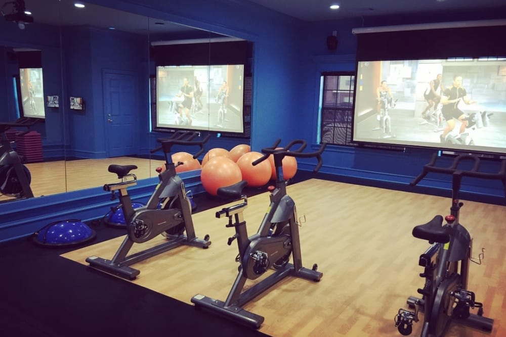 Cycling room in the fitness center at River Pointe in North Little Rock, Arkansas.