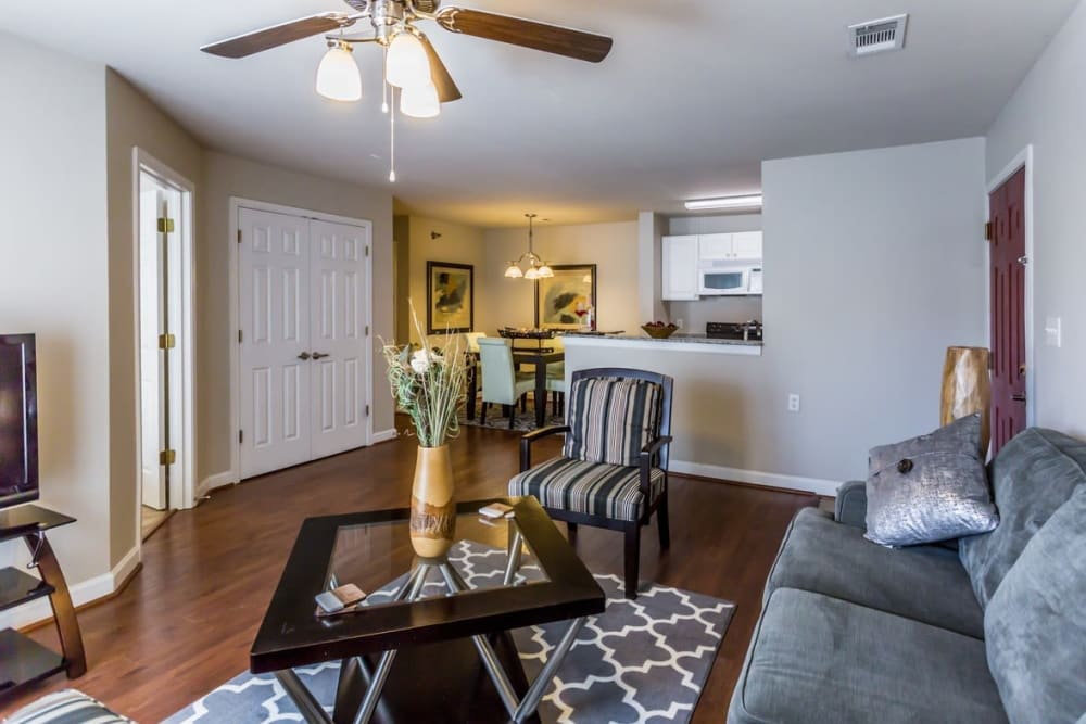Spacious living room with high ceilings at River Pointe in North Little Rock, Arkansas.