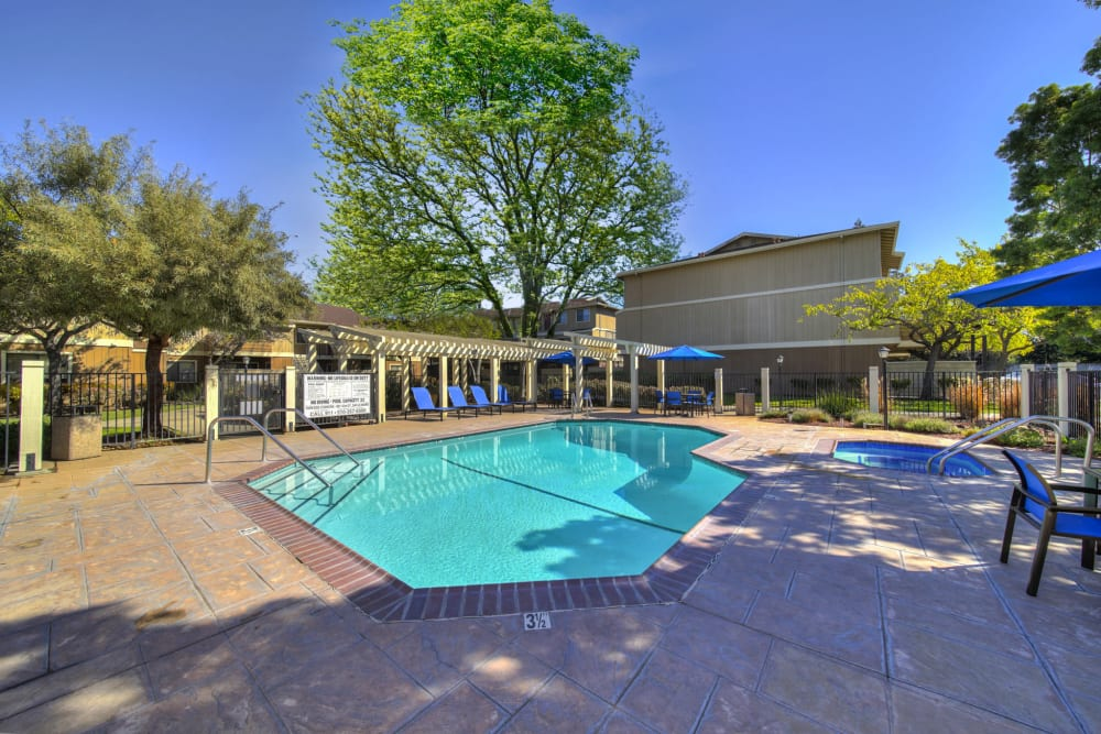 Living at Parkside Commons Apartments includes a large relaxing pool and spa