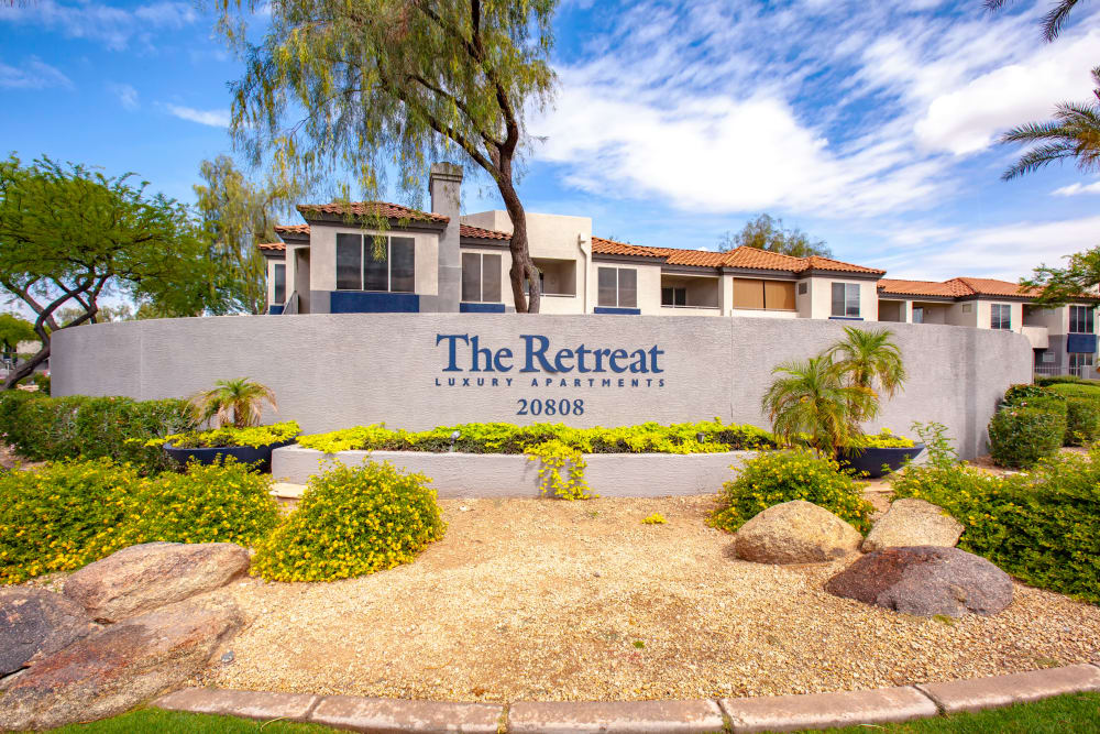 Sign at The Retreat Apartments in Phoenix, Arizona