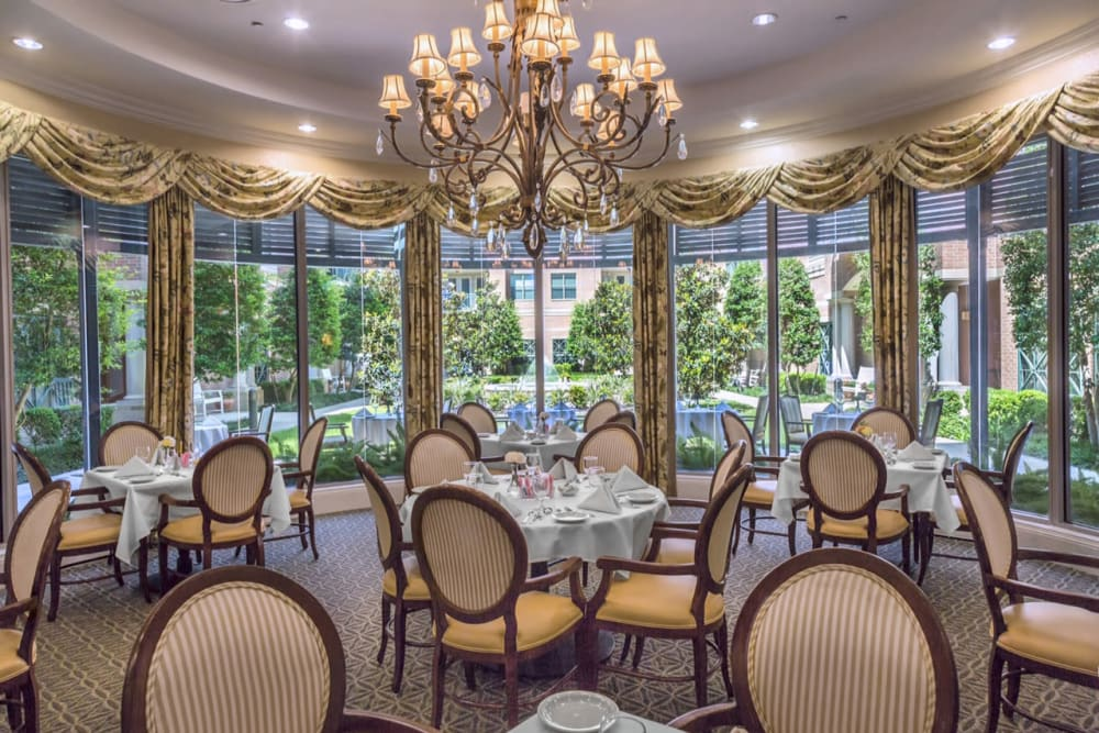 Fine dining hall at The Village of Tanglewood in Houston, Texas