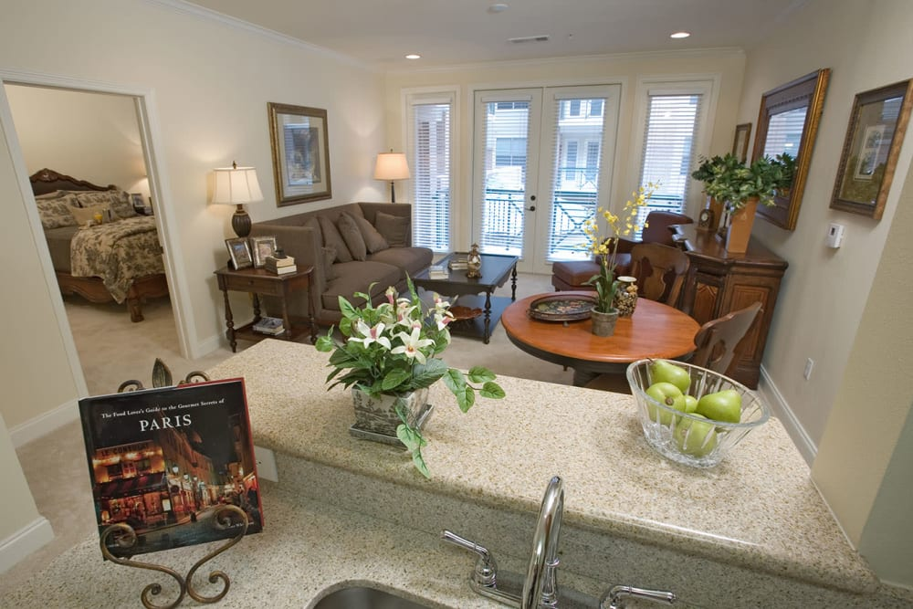 Kitchen and living room at The Village of Tanglewood in Houston, Texas