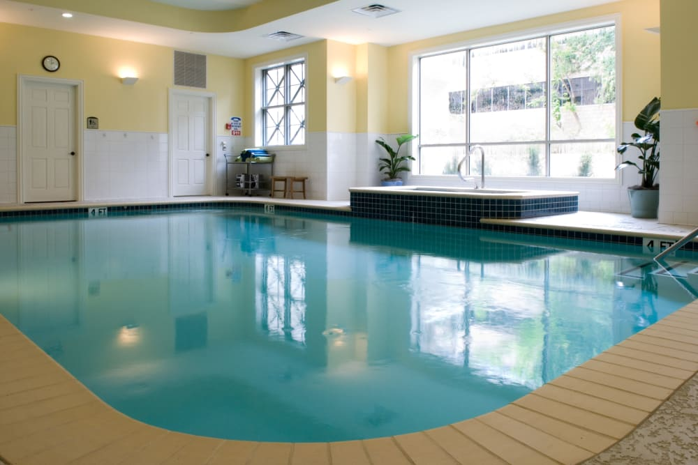 The community swimming pool at The Village of Tanglewood in Houston, Texas