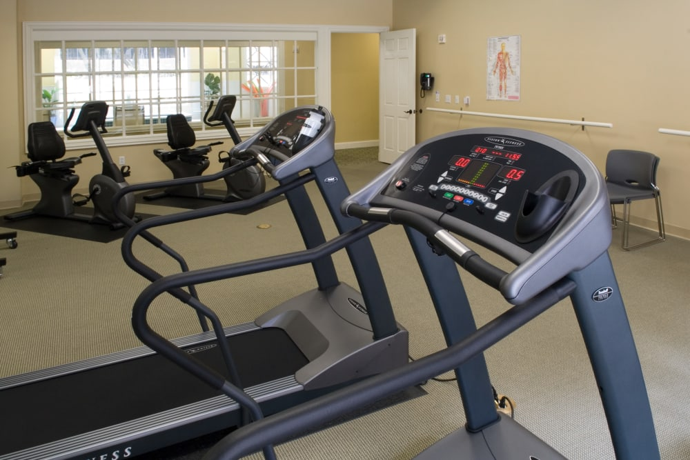 Exercise equipment in the gym at The Village of Tanglewood in Houston, Texas
