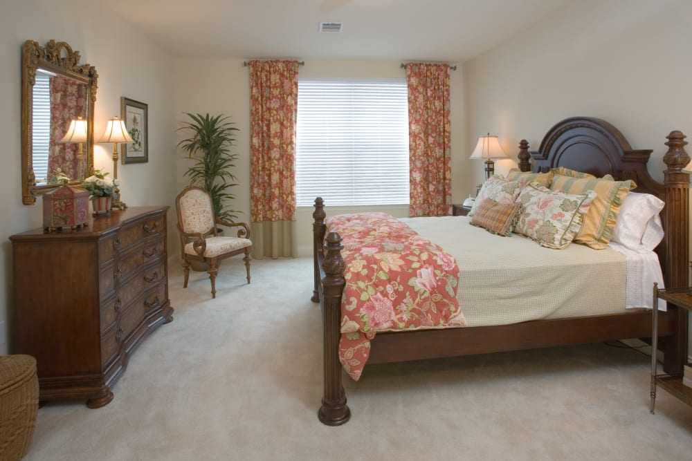 A decorated bedroom at The Village of Tanglewood in Houston, Texas