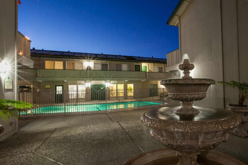 Sparkling swimming pool at Appletree Apartments in Campbell, California