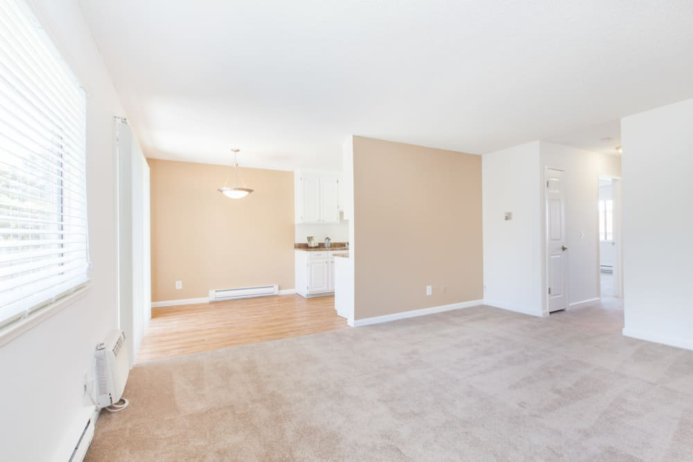 Spacious living room at Appletree Apartments in Campbell, California
