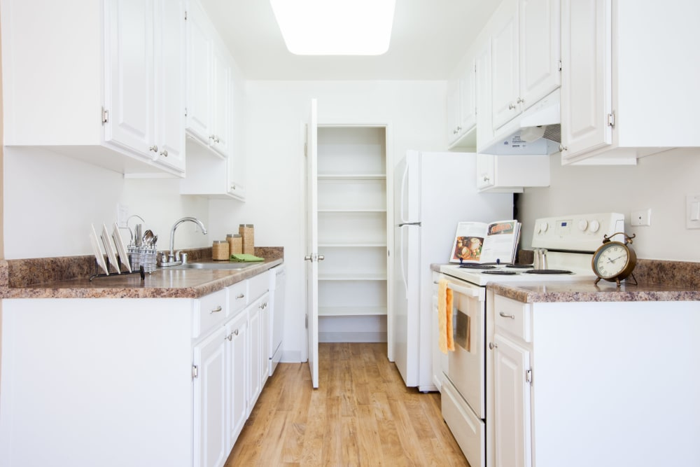 Kitchen with a spacious pantry at Appletree Apartments in Campbell, California