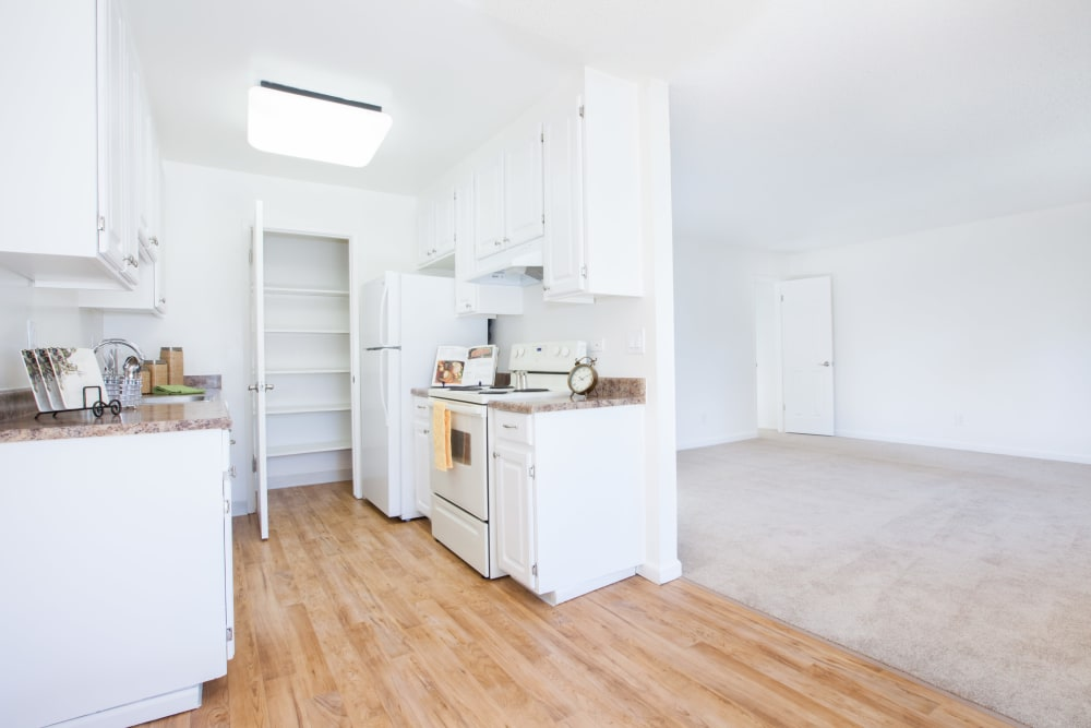 Bright, open kitchen at Appletree Apartments in Campbell, California