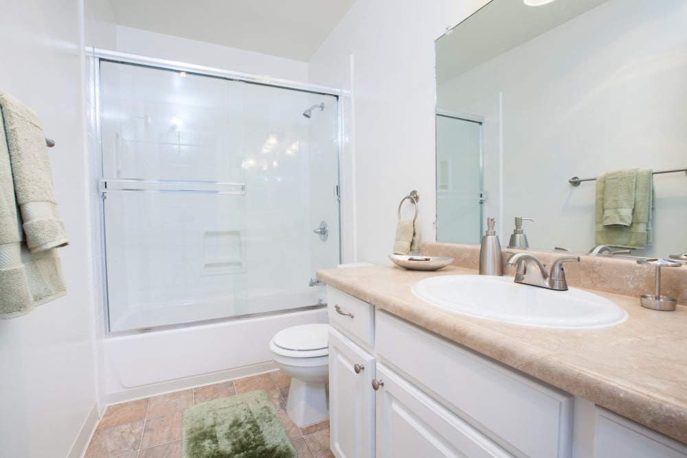Bathroom with plenty of counter space at Appletree Apartments in Campbell, California