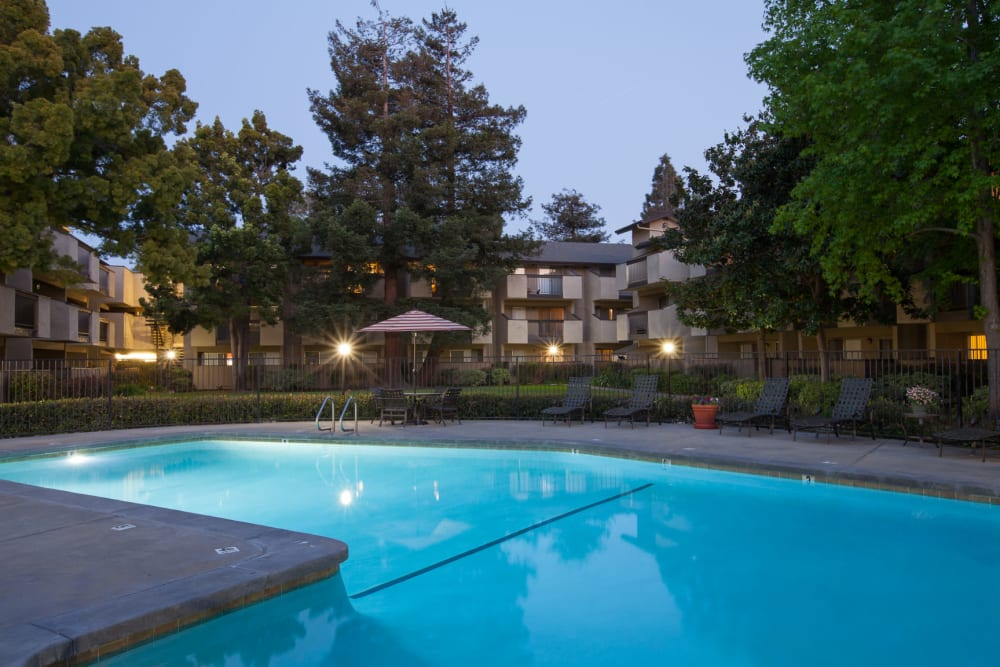 Sparkling swimming pool at Carrington Apartments in Fremont, California