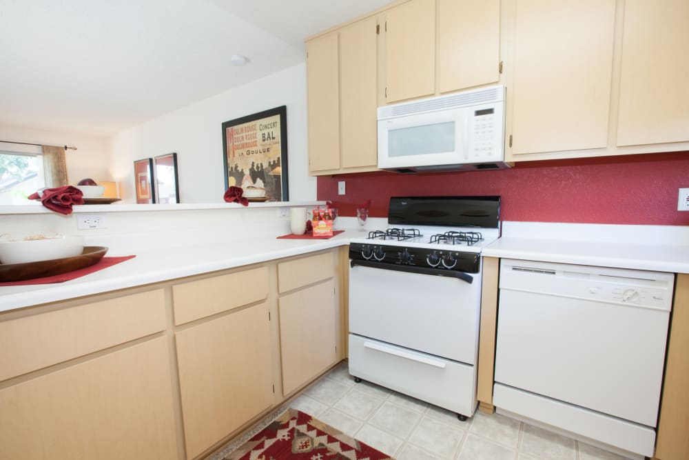 Bright kitchen at Carrington Apartments in Fremont, California