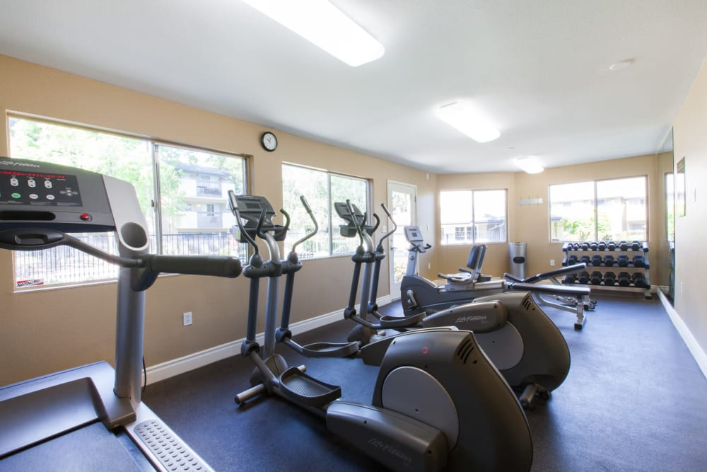 Carrington Apartments offers a fitness center for residents in Fremont, California