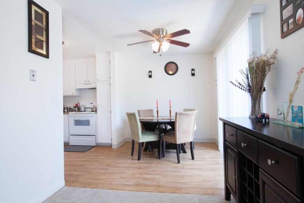 Model dining area at Cedartree Apartments in Santa Clara, California