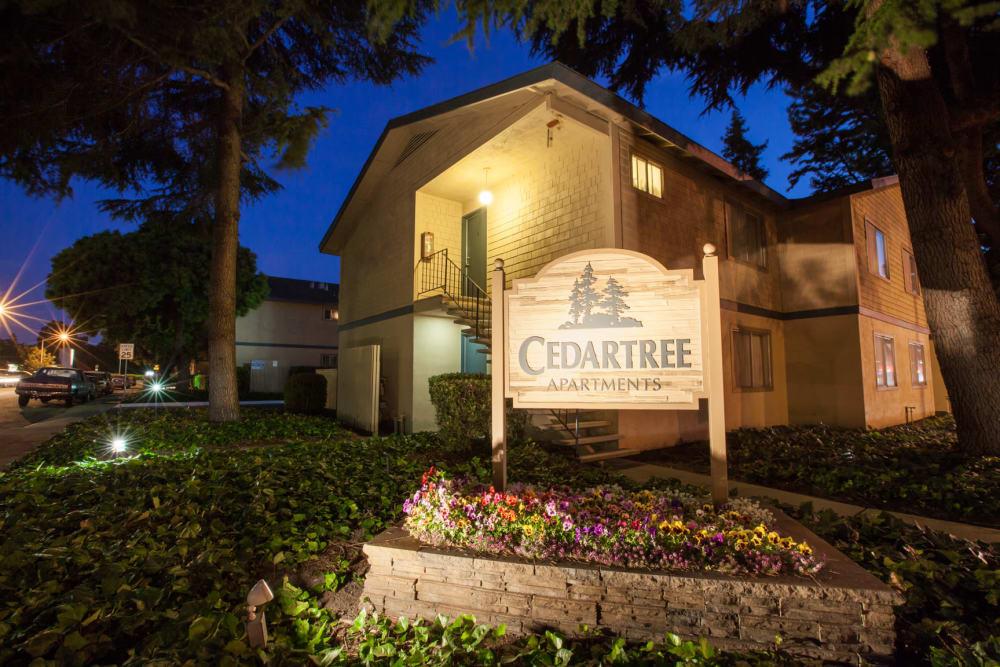 Sign at Cedartree Apartments in Santa Clara, California