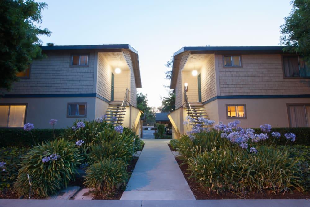 Well lit walking path at Cedartree Apartments in Santa Clara, California