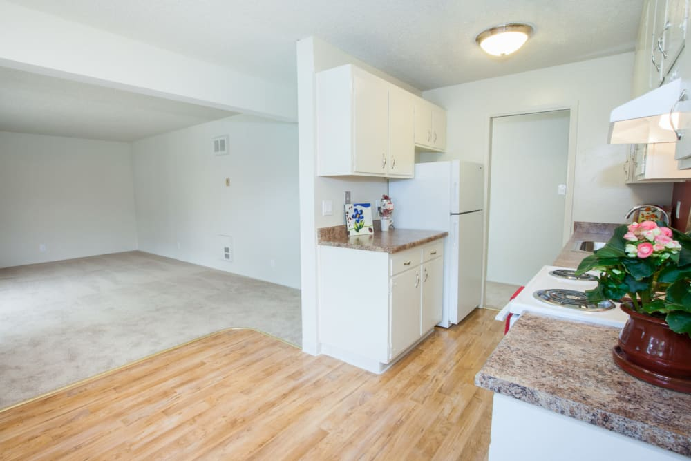 Spacious living area at Del Coronado Apartments in Alameda, California