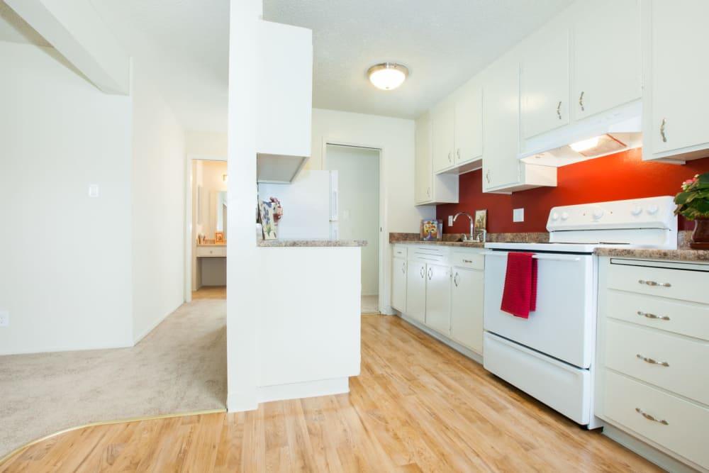 Fully equipped kitchen at Del Coronado Apartments in Alameda, California