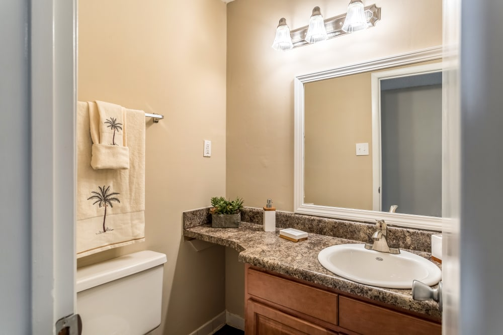 Bathroom model at Poplar Place in Memphis, Tennessee