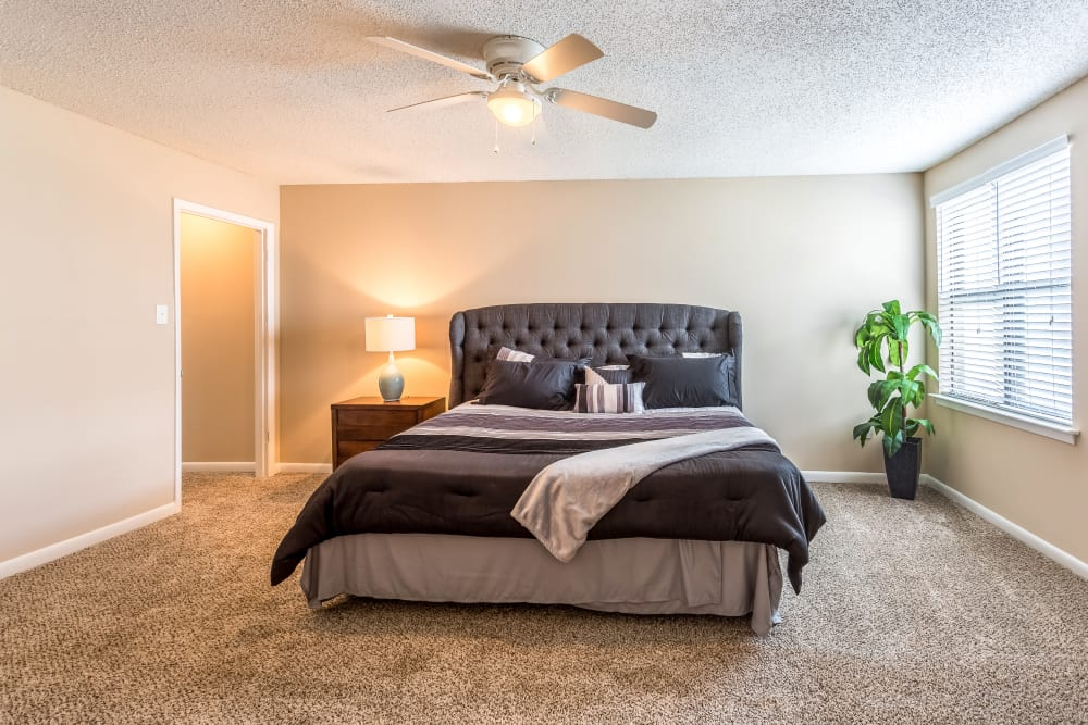 Master bedroom model at Poplar Place in Memphis, Tennessee